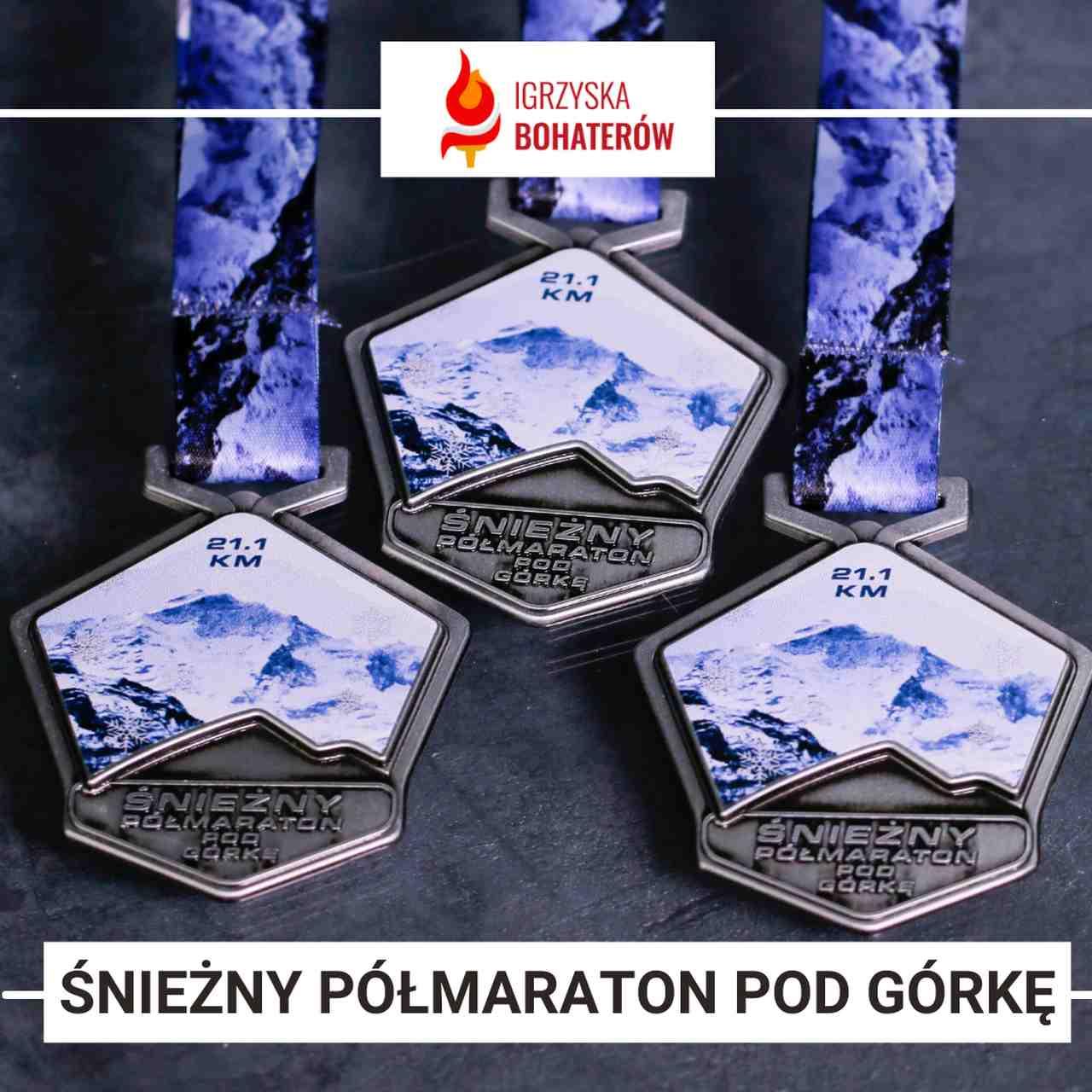 medale na śnieżny półmaraton pod górkę